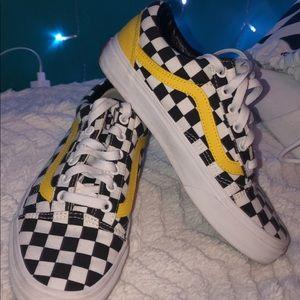 CUSTOM Black White checkered Vans w yellow stripe